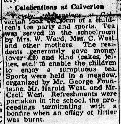 Calverton's VE Day celebrations 8th May 1945, VE Day, Lower Weald celebrated with a football match on Pond Close