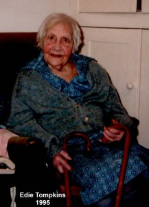 Edie Tompkins at home  (56 Calverton Road) in 1995