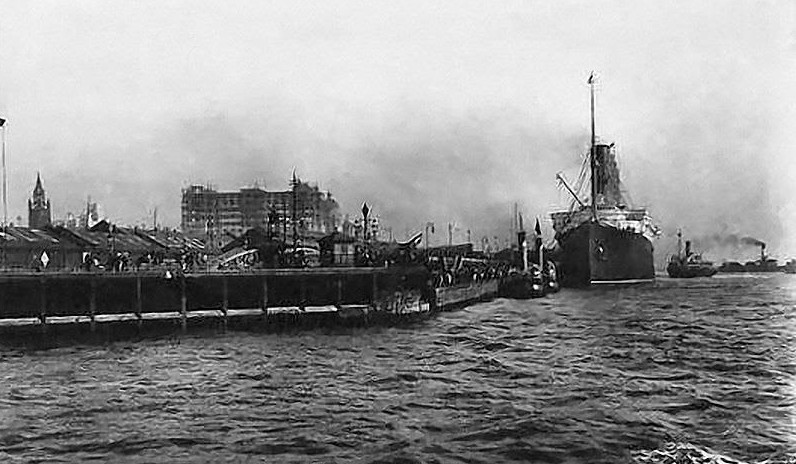Lusitania at the Landing Stage c. 1910