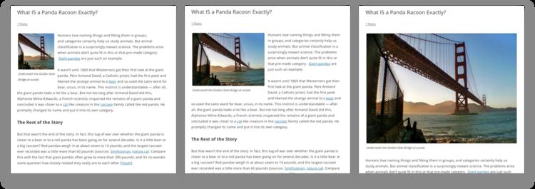 Thumbnail, Medium, and Large image sizes (Image Alignment: Left)